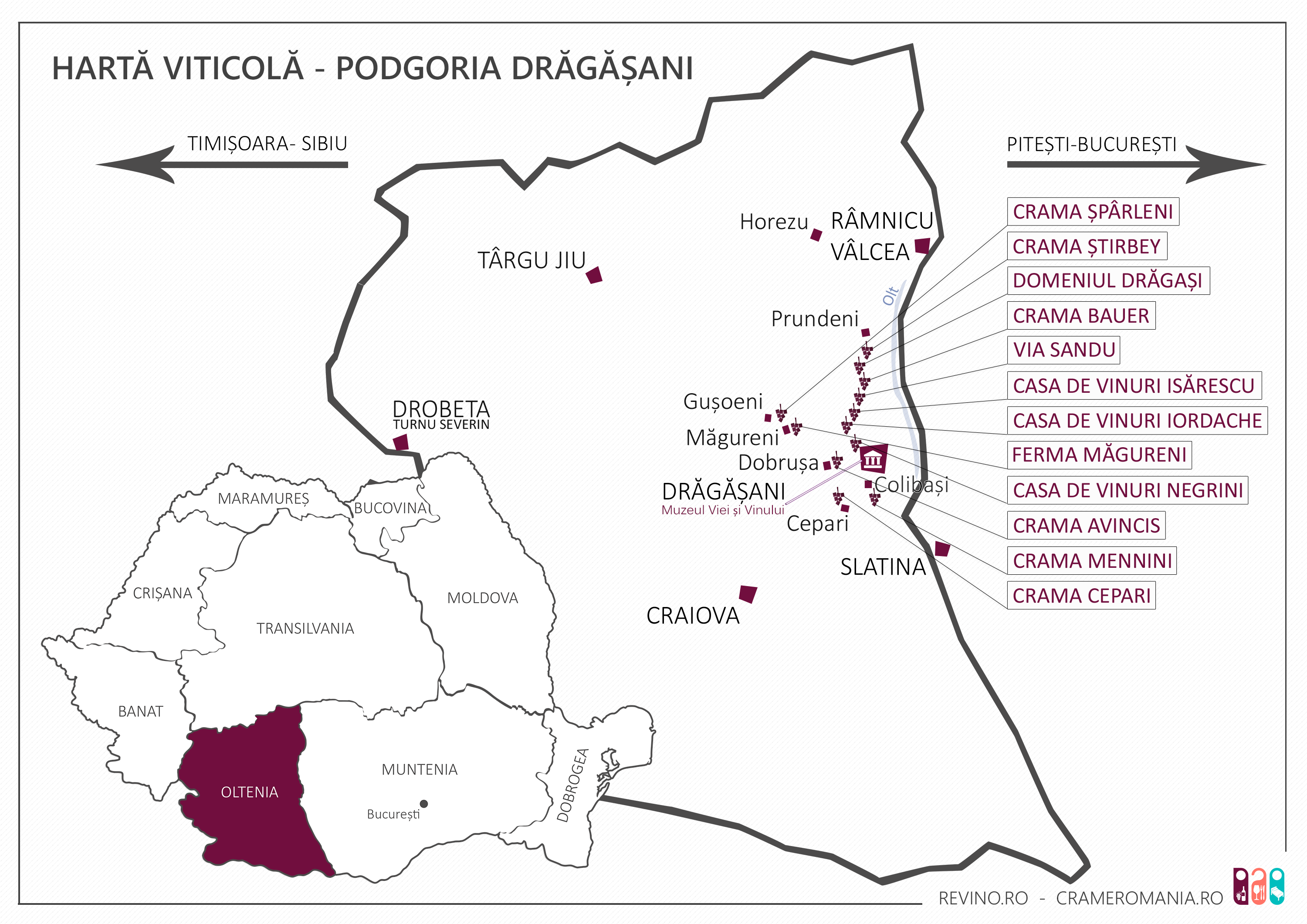 Dragasani vineyard map